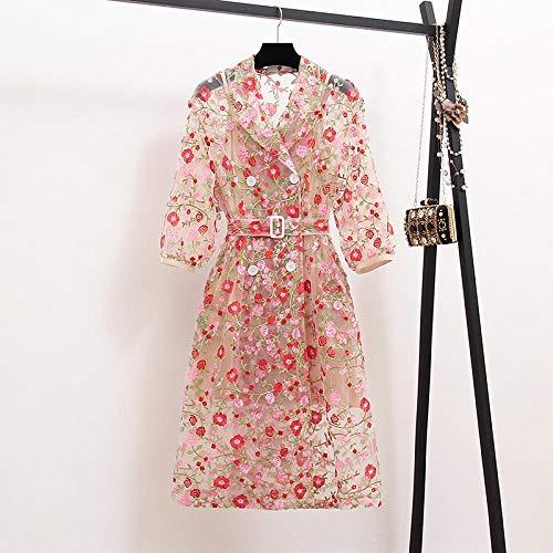Silla de baño Arrive Runway Summer Flower Overlay Gabardina para mujer con muescas de la manga de la linterna Cinturón de malla de abrigo largo de la ropa exterior CHFYG (color: rosa, tamaño: XL)
