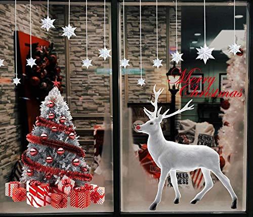 RENFEIYUAN Große S-Fensteraufkleber Bunte S-Bäume Fenster Aufkleber Schneeflocken Abziehbilder for Shop Fenster Glasdekorationen Statische Klinke Rentier Wandtattoo S Baum Weihnachten fenstersticker