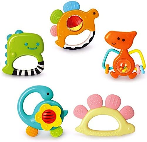 Yiosion Baby Rattles Sets Teether Shaker Grab and Spin Rattle Musical Toy Set Early Educational product image