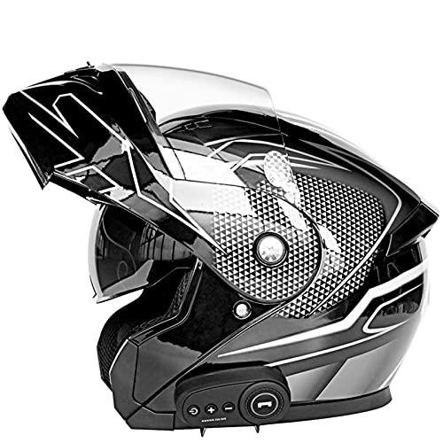 BHBXZZDB Casco de motocicleta con doble visera con certificación DOT, casco modular con Bluetooth, casco de turismo de cara completa, casco de scooter para respuesta automática, 59-64 cm