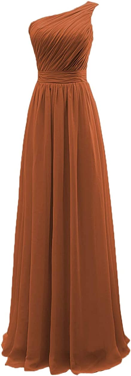 YORFORMALS Women's One-Shoulder Chiffon Bridesmaid Dress Long Formal Evening Party Gown Ruched Bodice