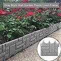 w5bhj88 Garden Lawn Edging Plant Border, Grey Stone Brick Effect Plant Bordering Flower Bed & Grass Garden Border Fence for DIY Home Garden Decoration(12pcs)