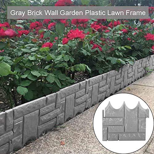 Zacha Garten-Rasenkante, grauer Stein-Effekt, Rasenkante, Pflanzen-Beeteinfassung, Rasenkante für Zuhause, Garten, Landschaftskante