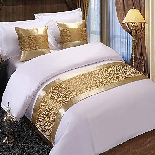 Q_STZPX Bett Renner bettläufer Hotel Bed Flag Bettwäsche Gesteppte Bettdecke Dreiteilige Bettwäsche Im Europäischen Stil High-End Hotelkissenbezug Bettmatte-Phnom Penh Golden Hook Flower_Cushion Wit