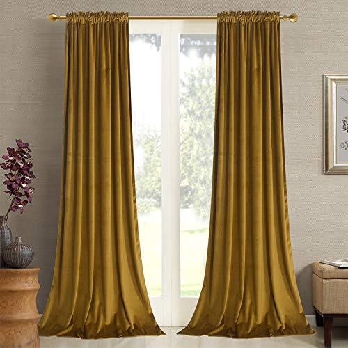 Roslywood Gold Brown Velvet Curtains 96 inches - Kids Room Velvet Privacy Drapes Light Blocking with Rod Pocket & Back Tab Curtains for Drawing Room/Hall, Gold Brown, 52 by 96 Inches, 96 Panels