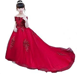 GFDGG キッズガールズドレスパーティー誕生日クリスマスクリスマスギフトガールドレスパーティードレスpincessドレス (色 : Red tail, サイズ : 160)