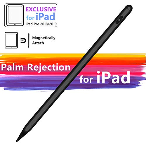 Stylus Pen Compatible with iPad Palm Rejection Active Rechargeable Digital Pencil with Fine Point Magnetic Design Compatible for iPad 6th 7th Gen iPad Pro iPad Air 3rd Gen iPad Mini 5th Gen (Black)