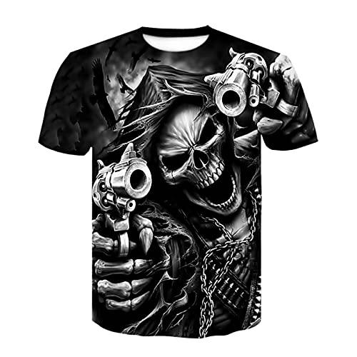 Camiseta de Manga Corta Camisa 3D Camiseta De Verano A La Moda para Hombre, Estampado De Calavera 3D, Ropa De Calle Transpirable para Hombre, Estampado De Empalme para Hombre XXS-6
