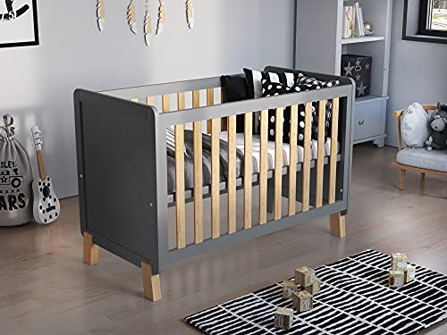 Francis Wooden Baby Cot Bed 120x60cm with FREE Deluxe Aloe Vera Mattress (Grey & Pine)