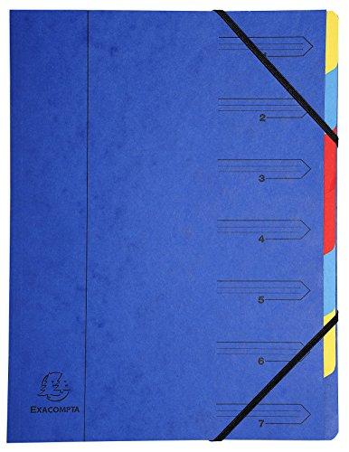 Exacompta 54072E - Clasificador grapado con gomas 7 compartimentos, azul