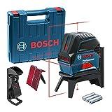 Bosch Professional GCL 2-15 Livella Laser Rosso Multifunzione Punti A Piombo, 3 Pile AA, in Valigia, 4.5 V, Supporto Ruotabile RM1, Pannello di Mira, Blue, Raggio d'Azione 15 m