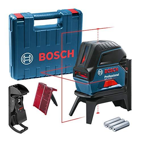 Bosch Professional Kreuzlinienlaser GCL 2-15 (roter Laser, Innenbereich, mit Lotpunkten, Arbeitsbereich: 15 m, 3x AA Batterien, Drehhalterung RM 1, Laserzieltafel, Schutztasche, Handwerkerkoffer)