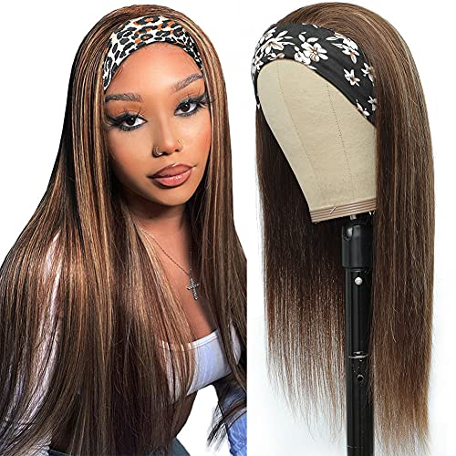 Ombre Highlight Headband Wig Human Hair For Black Women Straight Brazilian Remy Human Hair Wig With Headbands Attached Brown To Honey Brown Headband Wigs 180% Density (18Inch)