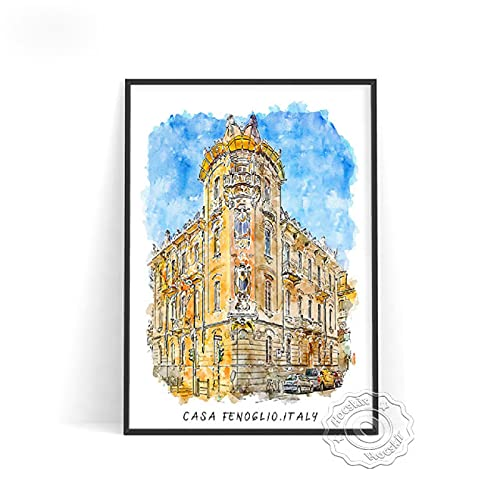 lubenwei Watercolour World City Travel Poster London Brussels Japan Rome Wall Pictures Germany Belgium Italy Print Art Home Decor (AU-682) 50x70cm No frame