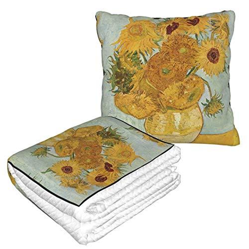 Lsjuee Van Gogh - Manta 2 en 1 con Flor Amarilla, Almohada de Viaje Ligera y Duradera
