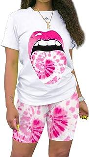 Two Piece Outfits for Women Summer - Fashion Tie Dye Crop Top Short Sets Sportswear Tracksuit Clubwear