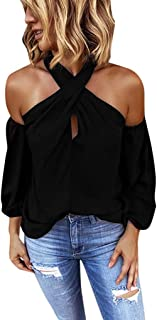 HAALIFE ◕‿Women Halter Cold Shoulder Chiffon Blouse Long Sleeve Loose Top Shirt Crossed V-Neck Lantern Sleeves Top