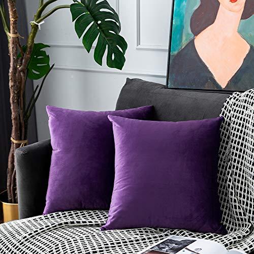 UPOPO Juego de 2 fundas de cojín de terciopelo, decorativas, de un solo color, suave, para sofá, dormitorio, salón, con cremallera, 45 x 45 cm, color morado