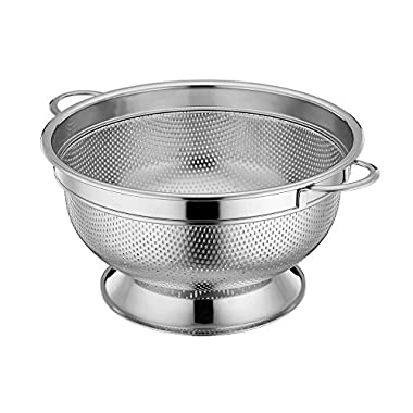 LIANYU Stainless Steel Colander, Micro-perforated 5-Quart Colander Strainer with Handles and Stand, Durable and Rust Free - Dishwasher Safe
