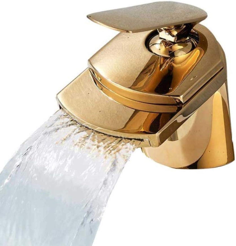 Syhua Goldene Wasserfall Auslauf Becken Waschbecken Wasserhahn Deck Montieren Golgen Messing Hot Cold Mischbatterie für Bad Chrom Vanity Sink Tap