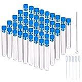Tubos de Ensayo de Plástico, JESSTOLO 45pcs 10ML Tubos Ensayo Transparent con Azules Tapa...