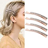 4 Pack Double Row Clear Crystal Rhinestone Hair Barrettes Bobby Pins Clips Fashion Metal Hair Pin Decorations for Lady Women Girls (Rose Gold)