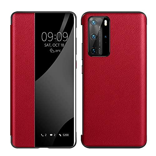 Funda para Huawei P40 Pro, de piel auténtica, con tapa, anticaída y práctica, apertura de ventana inteligente, P40pro