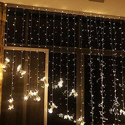 HenShiXin Impermeable 3x3 / 3x1M LED Boda de Navidad Guirnalda Luminosa Cortina de luz LED de Cadena Exterior Nuevo año la Fiesta de cumpleaños de la decoración del jardín Operación fácil