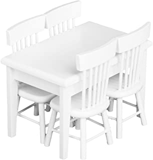 Lowpricenice 5pcs White Dining Table Chair Model Set 1:12 Dollhouse Miniature Furniture