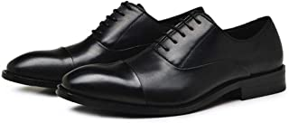 Leather Oxford for Men Wedding Shoes Lace up Genuine Leather 2.8cm Block Heel Stitching Solid Color Three Joints shoes (Color : Black, Size : 46 EU)