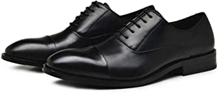 Bin Zhang Formal Oxford for Men Wedding Shoes Lace up Genuine Leather 2.8cm Block Heel Stitching Solid Color Pointed Toe Three Joints (Color : Black, Size : 8.5 UK)