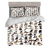 Funda nórdica Super King Size (220 x 240cm) con 2 fundas de almohada Decoración para amantes de perros Juegos de cama de microfibra Imagen con perros de raza pura Pastor australiano Boxer belga Mastín