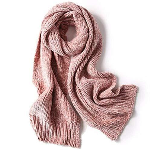 Aijin Schal weiblich, niedlich Herbst und Winter warm Chenille Monochrome universal vielseitig Schal,Rosa