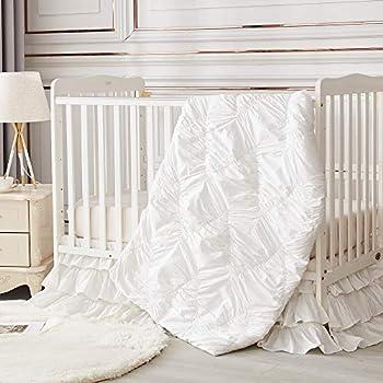 Brandream Luxury Diamond Crib Bedding Set for Girls   3 Piece Nursery Set White  Baby Comforter Fitted Crib Sheet Crib Skirt Included