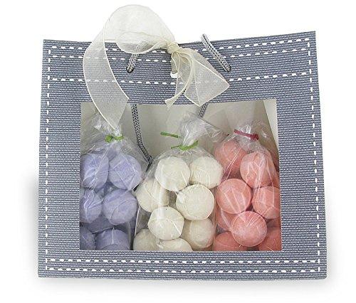 Pochette cadeau contenant 3 sachets de 15 minis boules de bain effervescentes - Parfums exotiques
