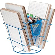 """Really Good Stuff Revolving Dry Erase Board Rack – Holds 24, 9""""x12"""" Dry Erase Boards – Four Compartments and Interior Basket for Markers, Erasers and More – Durable, Space-Saving Storage Solution"""