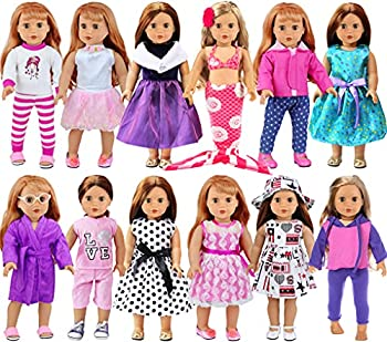 """ZITA ELEMENT 12 Sets American 18 Inch Girl Doll Clothes and Accessories 18 Inch Doll Clothes with Dress Swimsuits Fits American 18"""" Doll My Our Life Doll Generation Doll Clothes Outfits"""