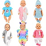 SOTOGO 6 Sets Doll Clothes Outfits for 14 to 17 Inch Newborn Baby Dolls,15 Inch Bitty Baby Doll and American 18 Inch Girl Doll