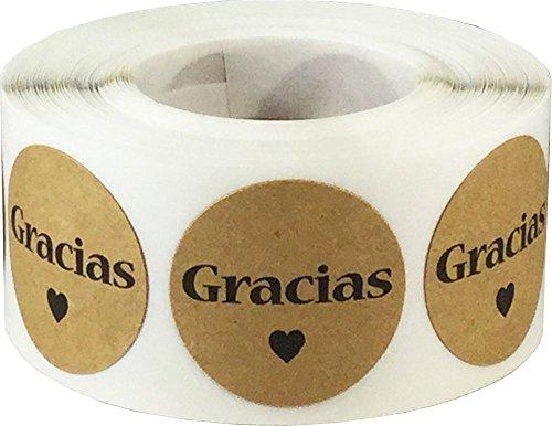 Kraft Natural Marron Gracias Pegatinas, 25 mm 1 Pulgadas Etiquetas Circulares 500 Paquete