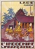 Poster, Vintage-Stil, Reisemotiv LAOS und INDOCHINA,