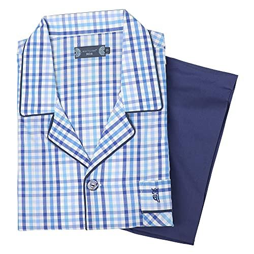 El Búho Nocturno - Pijama Hombre Largo Solapa Popelín CuadrosLiso Azul Claro 60% algodón 40% poliéster Talla 7 (XXXL)