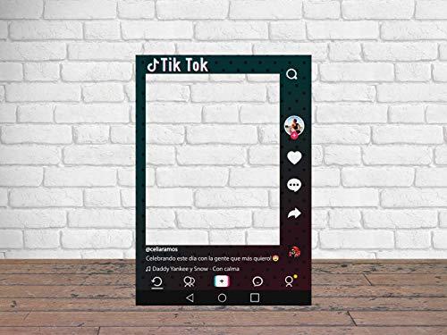Photocall TIK Tok Atrezzos Personalizado Eventos o Celebraciones puntuales | Medidas 70x100cm | Ventana y Atrezzos Troqueladas | Photocall Divertido | Atrezzos