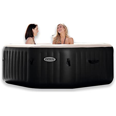 "Intex PureSpa Jet & Bubble Deluxe Portable Hot Tub, Octagon, 79"" X 79"" X 28"", Onyx Black"