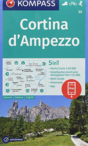 KOMPASS Wanderkarte Cortina d\'Ampezzo: 5in1 Wanderkarte 1:50000 mit Panorama, Aktiv Guide und Detailkarten inklusive Karte zur offline Verwendung in ... Skitouren. (KOMPASS-Wanderkarten, Band 55)