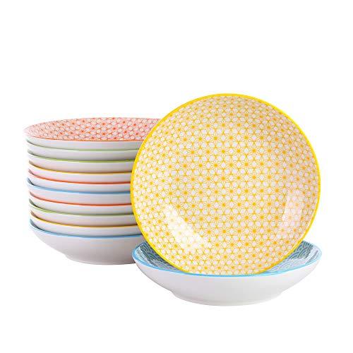vancasso Serie Natsuki Juego de Vajillas de Porcelana Colores Vajillas Japonesa (Plato Hondo, 12 Piezas)