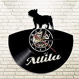 1 pieza French Bulldog House Pet Vinyl Record reloj de pared animales vintage arte de la pared hogar reloj decorativo regalo para perro amante