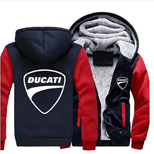 LTTTYCB Felpa Invernale Ducati Casual, Pullover Stampato in 3D, Giacca Maglione per Uomo E Donna, Maniche Lunghe con Cerniera