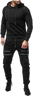 Men`s Autumn Print Zipper Sweatshirt Hooded Top Pants Sets Sports Suit Tracksuit