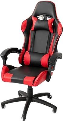 ゲーミングレーシングオフィス PUレザーオフィスチェアのゲームは、ランバーサポート高裏打ちされたオフィスチェア大人で実行されます ゲーミングチェア (色 : 赤, サイズ : 70X70X125CM)