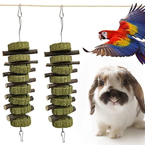 PVUEL Heno para conejos, juguetes para masticar con conejo, mejora la salud dental orgánica, manzana, madera, rama, bastón conejo con 7 ramas de manzana y 8 tartas de paja.